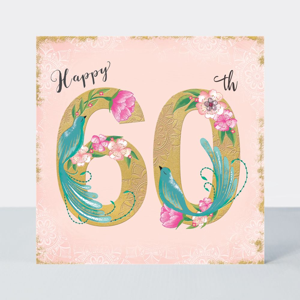 60th Birthday Cards - HAPPY 60th - Birthday BLUE BIRDS - Luxurious 60th BIR