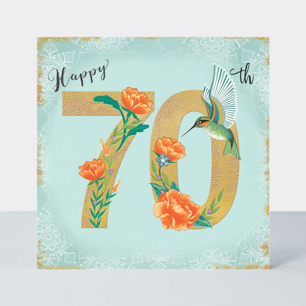 70th Birthday Cards - HAPPY 70th - Birthday HUMMINGBIRDS - Luxurious 70th B