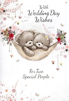 For Two Special People Wedding Card - WEDDING Cards - Wedding DAY Cards - WEDDING Day WISHES - Romantic WEDDING Day CARD - CUTE Bears WEDDING Day Card