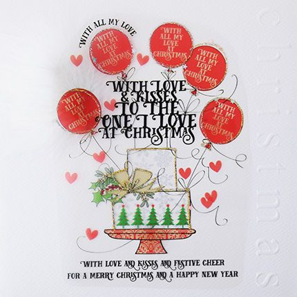 To The One I Love Christmas Cards - WITH Love & KISSES - Large LUXURY Embel