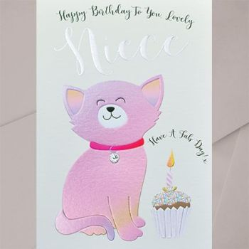 Birthday Cards For Niece - Have A FAB Day - LOVELY Niece Birthday CARD - Cat BIRTHDAY Cards - NIECE Birthday CARDS - Cute CAT Birthday CARD For NIECE