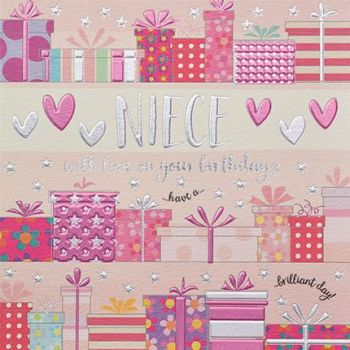 Birthday Cards For Niece - With LOVE On Your BIRTHDAY - Niece BIRTHDAY Card - CUTE Pink Birthday CARD For NIECE