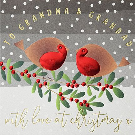 Grandparents Christmas Cards - To GRANDMA & Grandad - With LOVE At CHRISTMA