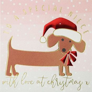 Christmas Card - SPECIAL NIECE - Niece CHRISTMAS Cards - Cute DOG Christmas CARD - Christmas CARDS For NIECE - Pretty PINK Xmas CARD