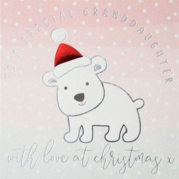 Granddaughter Christmas Cards - To A SPECIAL Granddaughter - CHRISTMAS Card - SPECIAL Granddaughter - CUTE Polar BEAR Christmas CARD - Kids XMAS Cards