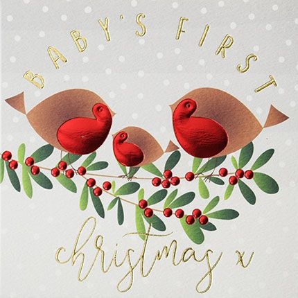 Baby 1st Christmas Cards - BABY'S First CHRISTMAS - Cute BIRDS On A HOLLY B