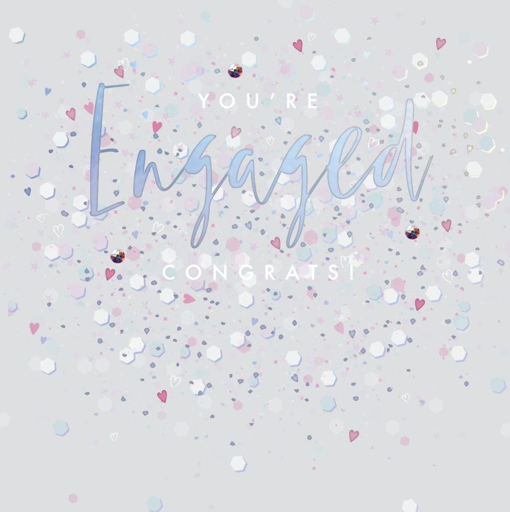 Engagement Cards - You're ENGAGED - Embellished Engagement CARD - UNIQUE En