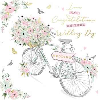 Wedding Day Cards - LOVE And CONGRATULATIONS - Wedding CARDS - Bicycle WEDDING Card - BEAUTIFUL Wedding DAY Card - ROMANTIC Wedding CARD