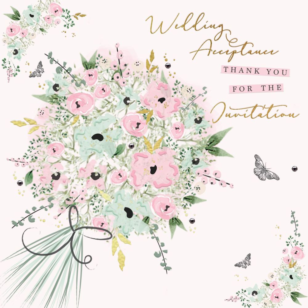Wedding Acceptance Card - THANK You For The INVITATION - Pretty FLORAL Acce