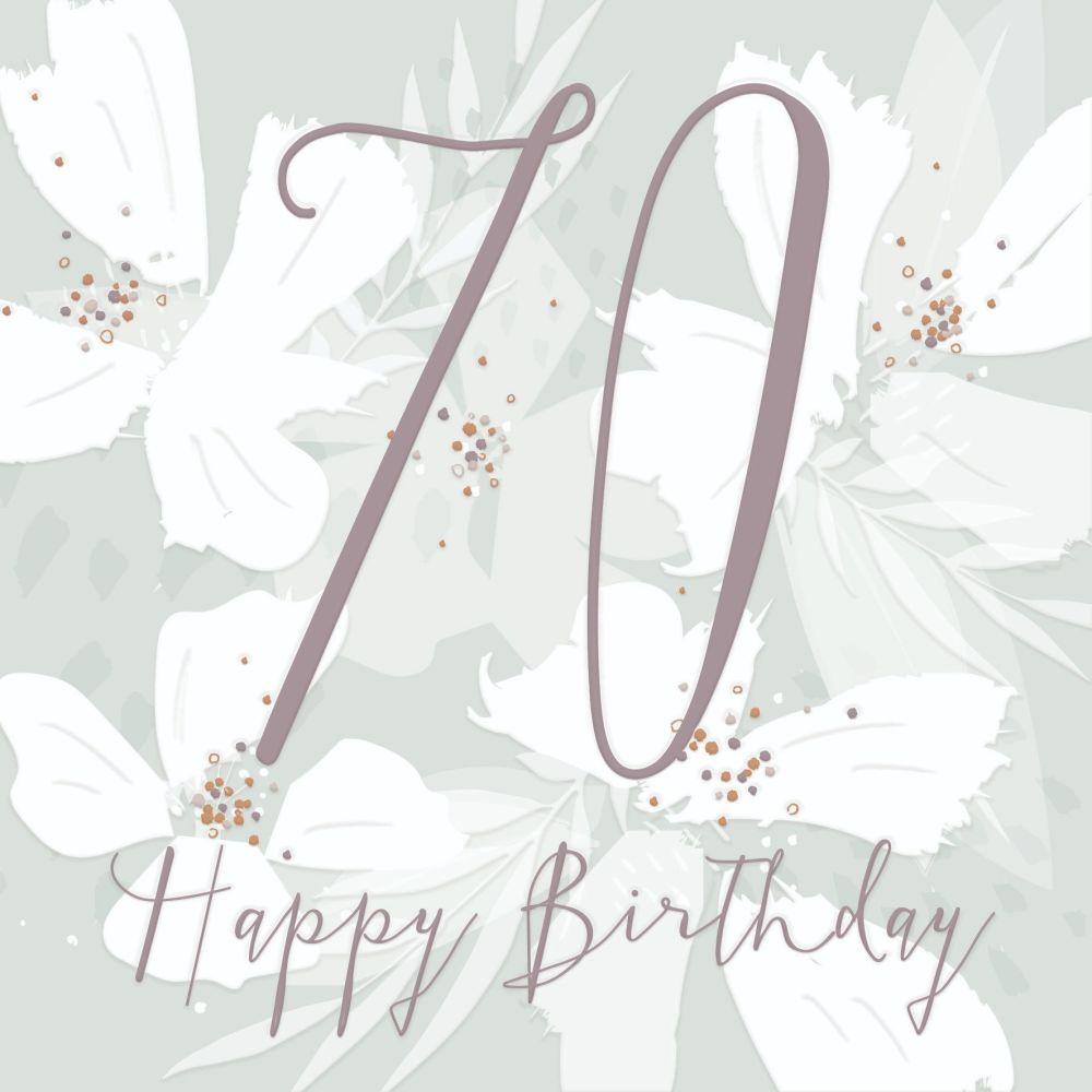 70th Birthday Cards - HAPPY Birthday - PRETTY 70th Birthday CARD - 70th - M
