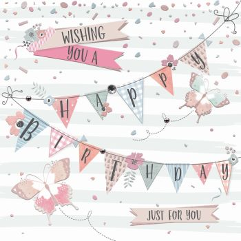 Birthday Cards - JUST For YOU - Birthday WISHES - Embellished BIRTHDAY Card - Cute BIRTHDAY Card FOR Nan - GRAN - Mum - FRIEND - Aunty