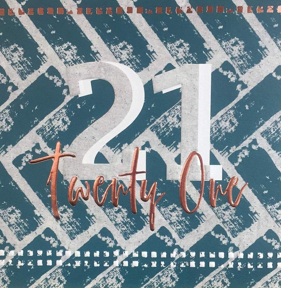 21st Birthday Cards - TWENTY ONE - COPPER Foil BIRTHDAY Card - 21st Birthda