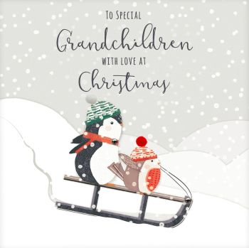 Grandchildren Christmas Card - To SPECIAL Grandchildren - WITH Love At CHRISTMAS - Christmas CARDS - Grandchildren - Cute EMBELLISHED Christmas CARD