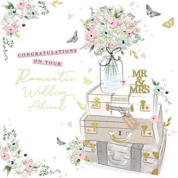Wedding Abroad Card - Congratulations ON Your ROMANTIC Wedding ABROAD - Wedding DAY Abroad GREETING CARDS - Gorgeous EMBELLISHED Wedding CARD