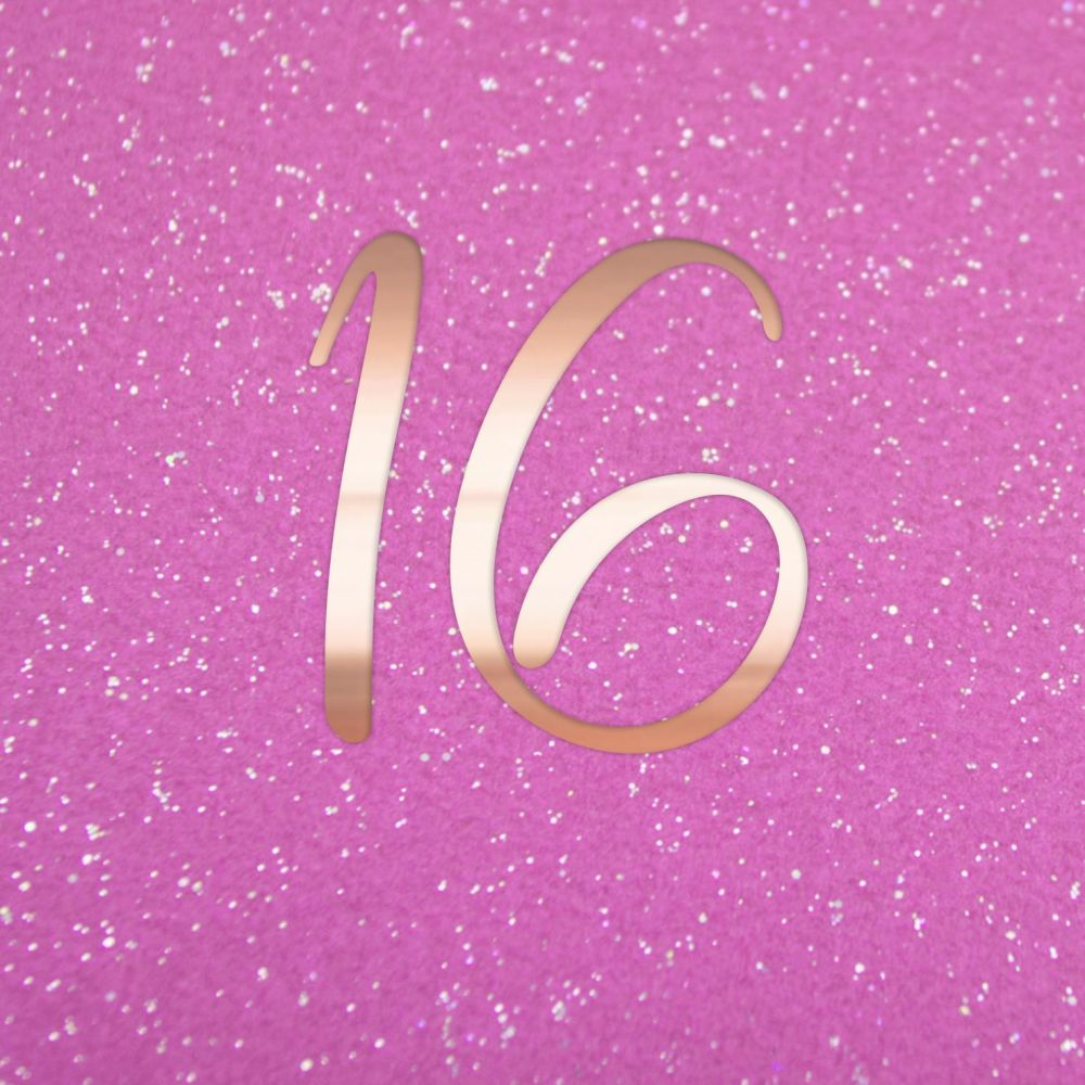 16th Birthday Cards - 16 - Teenage BIRTHDAY Cards - Pink & COPPER Sparkly B