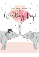 Wedding Day Cards - CONGRATULATIONS On Your WEDDING Day - WEDDING Cards - CONGRATULATIONS Wedding CARDS - CUTE Elephants WEDDING Day CARDS