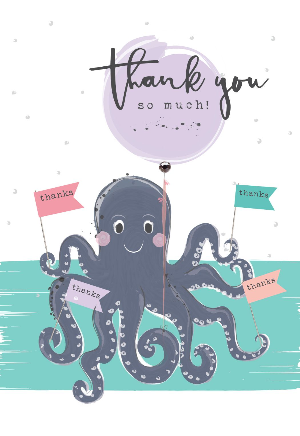 Thank You Cards - THANK You So MUCH - Funny THANK You CARDS - Octopus THANK