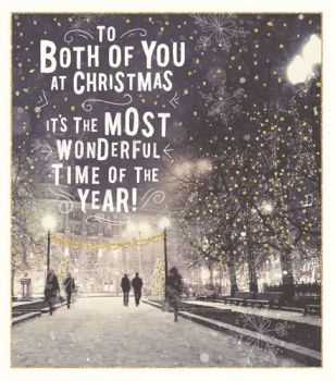 Christmas Card - To BOTH of YOU - IT'S The Most WONDERFUL Time Of The YEAR - SPARKLY Christmas CARD For COUPLE - Xmas CARD For FRIENDS - NEIGHBOURS
