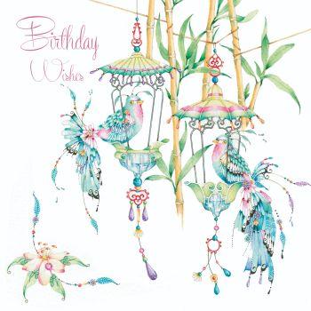 Bird Birthday Cards - ORIENTAL Style BIRTHDAY Card - BIRTHDAY Wishes - BAMBOO & Pet BIRDS Greeting CARD - BIRD Birthday CARD - Pretty CARD For FRIEND