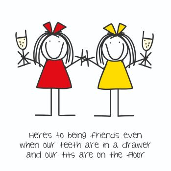 Best Friend Birthday Cards - WHEN Our TEETH Are In A DRAWER - FRIENDSHIP Card - GETTING Old BIRTHDAY Card - Funny CARD For BESTIE - Best FRIEND Card