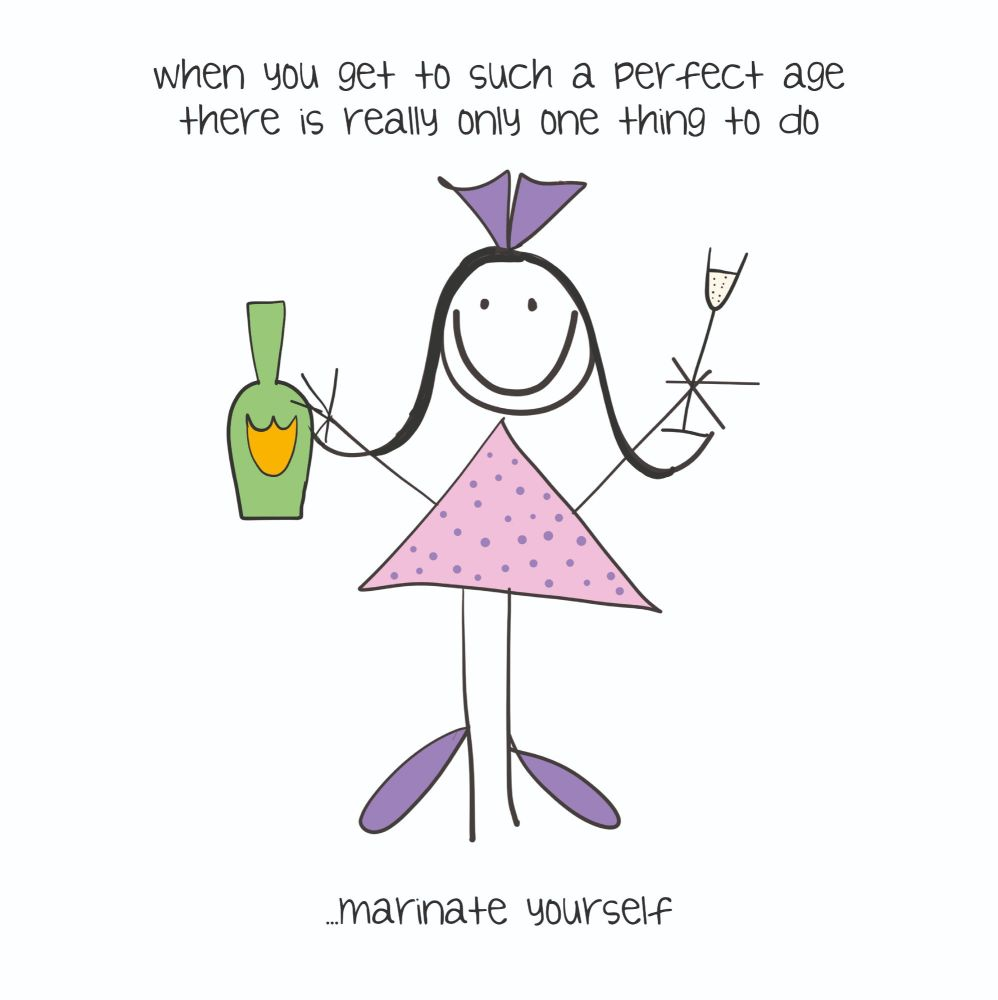 Funny Drinking Birthday Card - MARINATE Yourself - AGE Birthday CARD - ALCO
