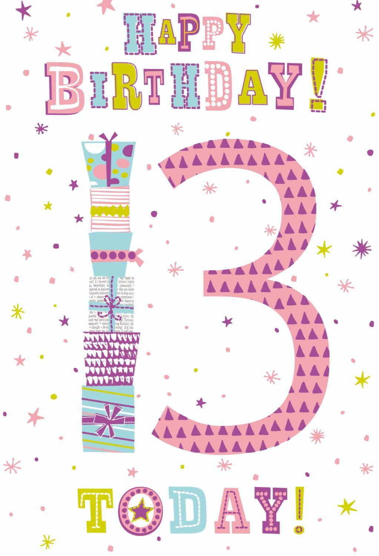 13th Birthday Cards - HAPPY Birthday 13 TODAY - Birthday CARD For TEENAGE G
