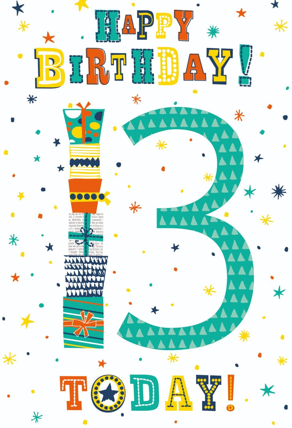 13th Birthday Cards - HAPPY Birthday 13 TODAY - Birthday CARD For TEENAGE B