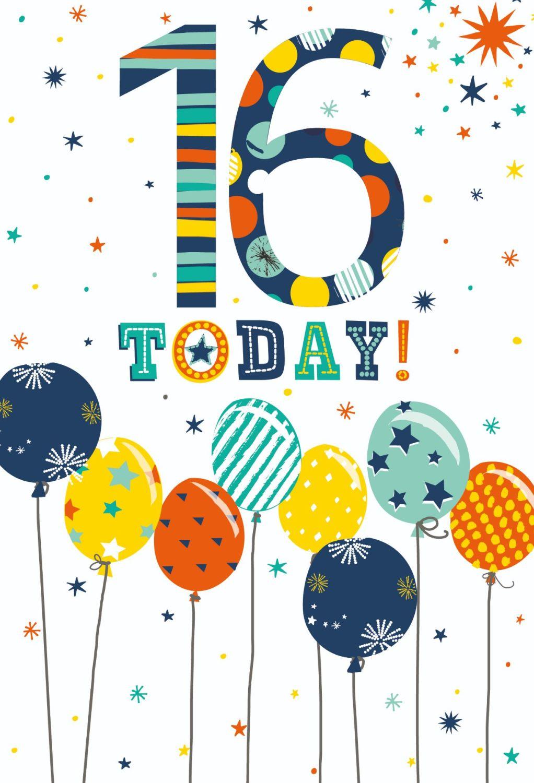 16th Birthday Cards - 16 TODAY - TEENAGE Birthday CARDS - Balloon BIRTHDAY