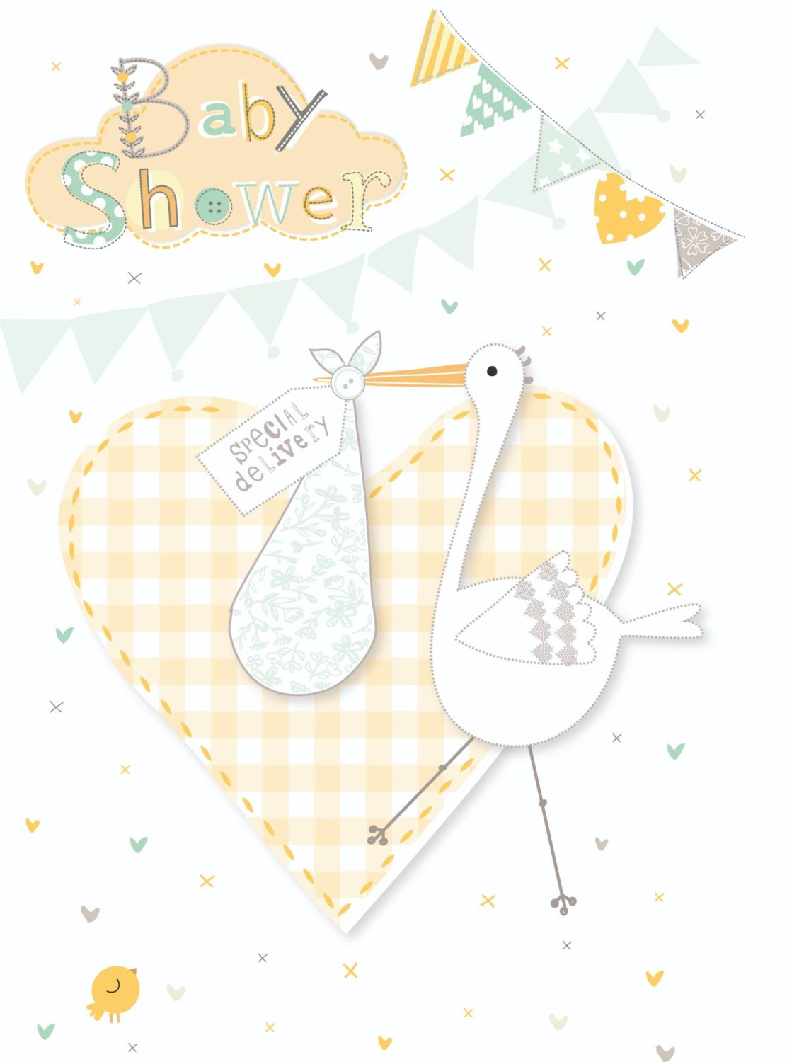 Stork Baby Shower Card - SPECIAL Delivery - BABY Shower CARD - Neutral BABY