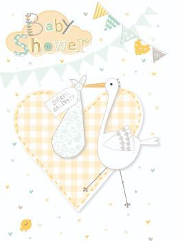 Stork Baby Shower Card - SPECIAL Delivery - BABY Shower CARD - Neutral BABY Shower CARD - Cute YELLOW Gingham BABY Shower CARD - CARD For BOY - Girl