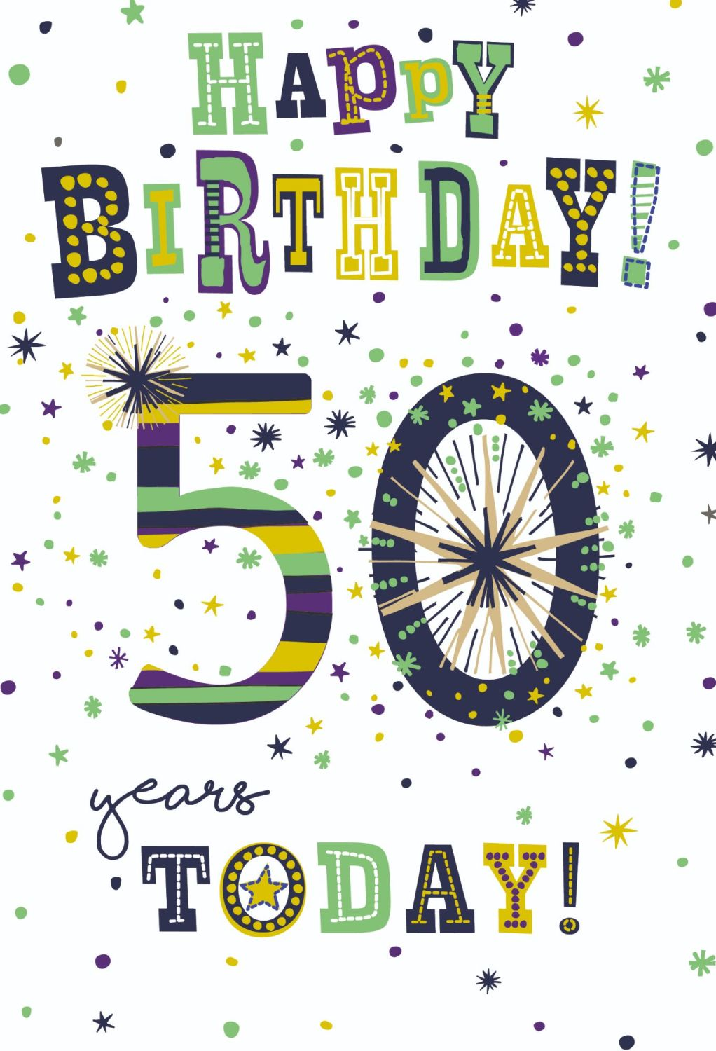 50th Birthday Cards For Him - 50 YEARS Today - BALLOONS Birthday CARD - 50t