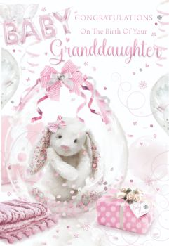 Congratulations On The Birth Of Your Granddaughter - NEW Grandparents CARD - Birth CONGRATULATIONS Card - Cute BUNNY Baby GIRL Card