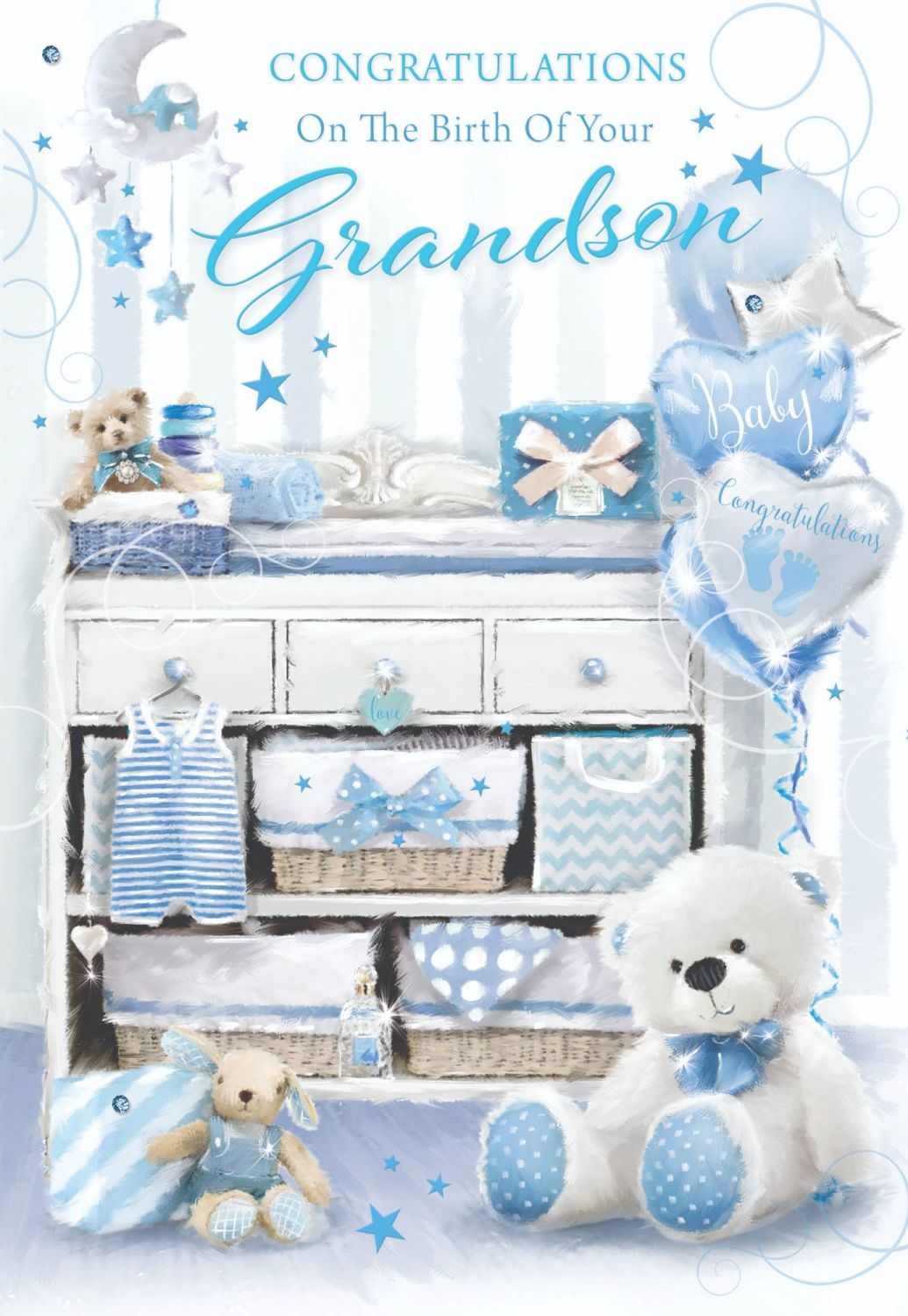 New Grandson Card - CONGRATULATIONS On THE Birth Of Your GRANDSON - Our NEW