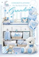 New Grandson Card - CONGRATULATIONS On THE Birth Of Your GRANDSON - Our NEW Baby GRANDSON Cards - BIRTH Of GRANDSON Card MESSAGE