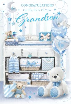 Congratulations On The Birth Of Your Grandson - NEW Grandson CARD - BIRTH Of GRANDSON Wishes - GORGEOUS New GRANDSON Birthday CARDS