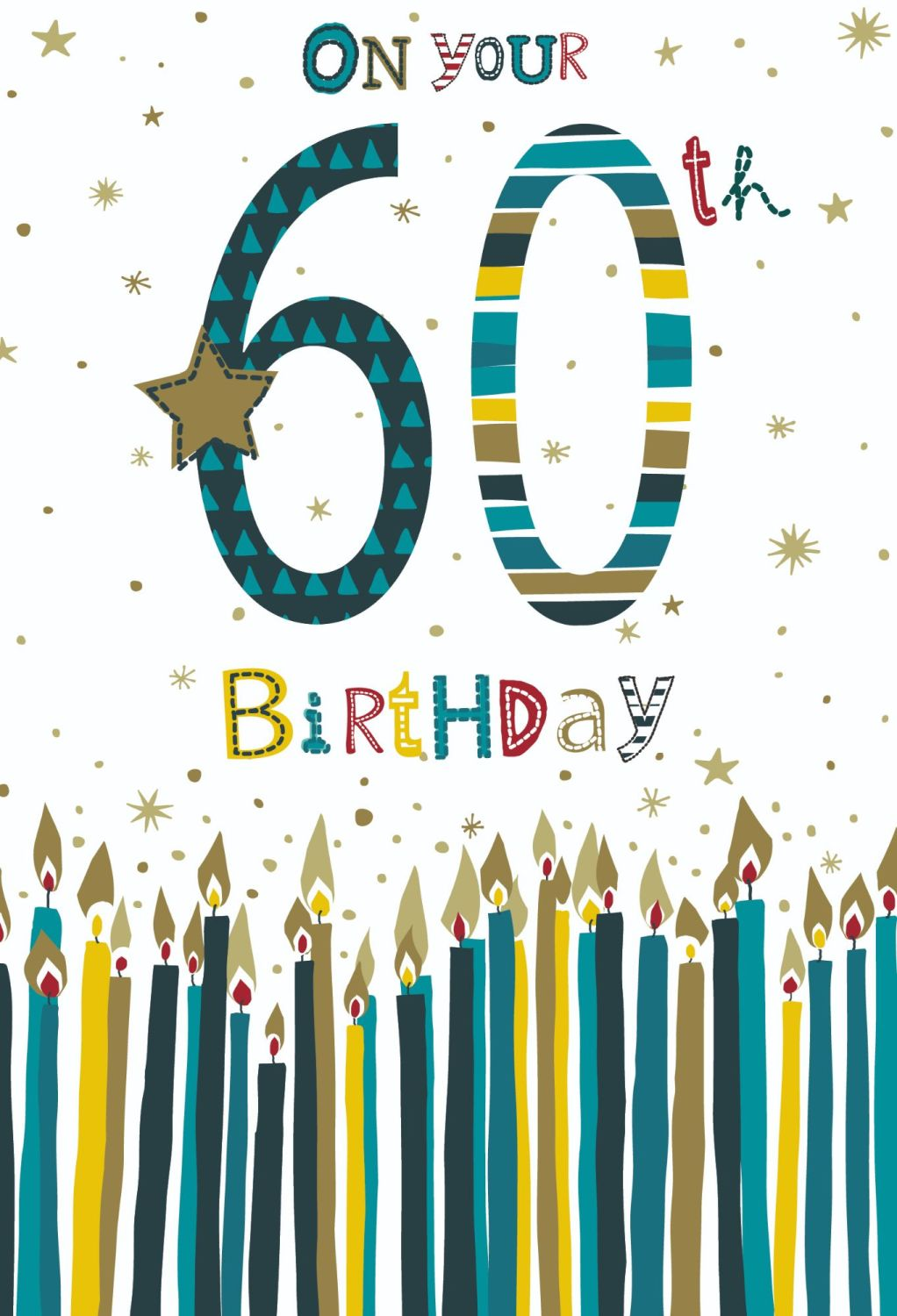 60th Birthday Cards For Him - ON Your 60th BIRTHDAY - Birthday CANDLES CARD