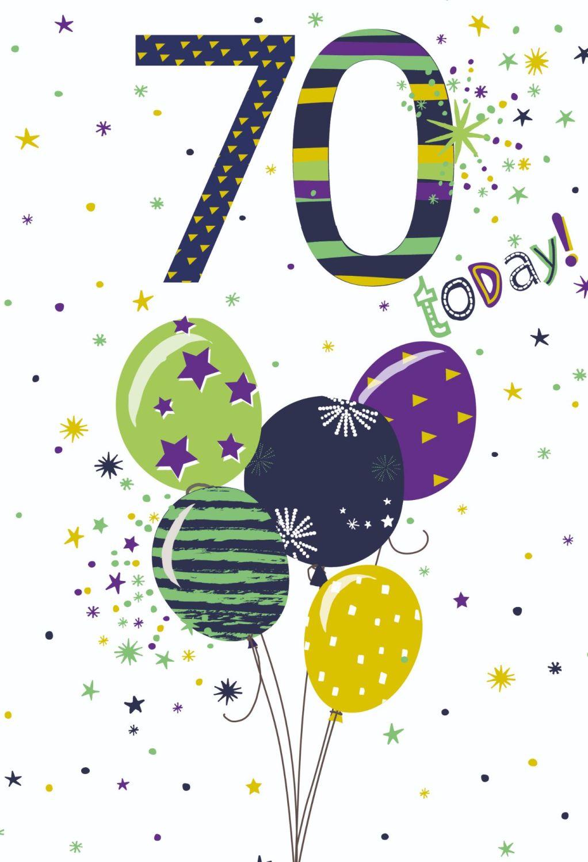 70th Birthday Cards - 70 TODAY - 70th Birthday CARDS - Balloon BIRTHDAY Car