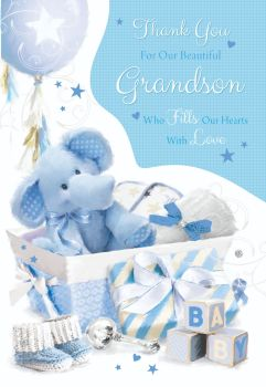 Thank You For Our Beautiful Grandson - WHO Fills Our HEARTS With LOVE - Cute GRANDSON Card - NEW Baby Card