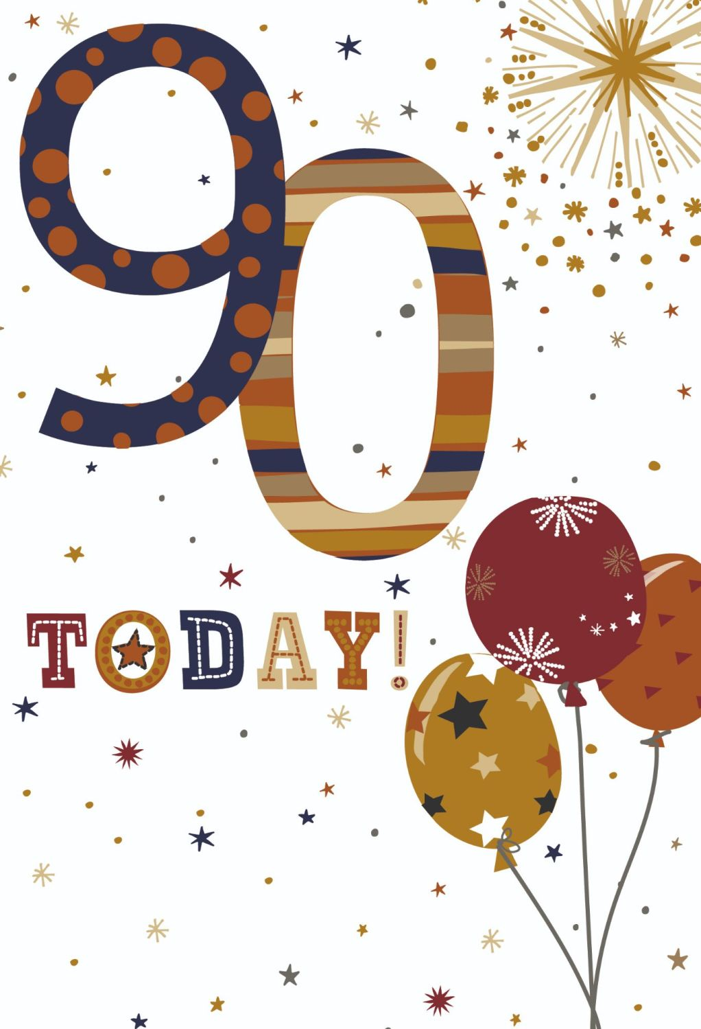 90th Birthday Cards For Him - 90 TODAY - BALLOONS Birthday CARD - 90th BIRT