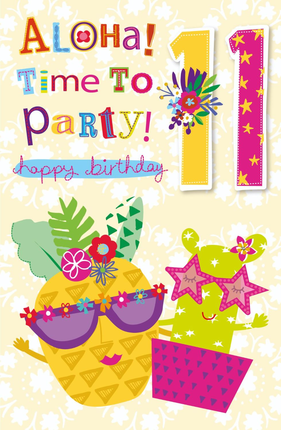 11th Birthday Card - ALOHA Time To PARTY - Happy BIRTHDAY Card - TROPICAL S