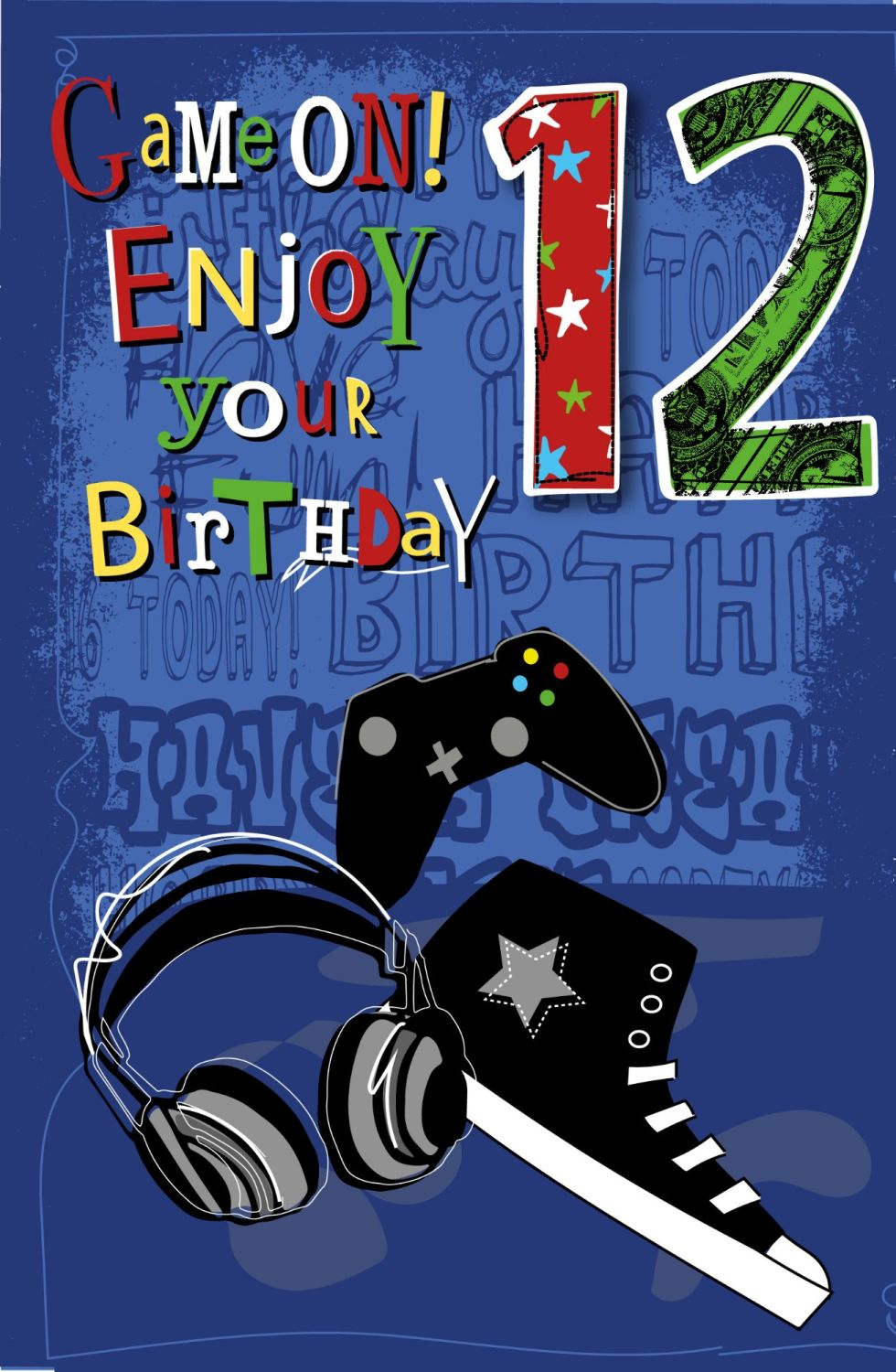 12th Birthday Card - GAME ON - Enjoy YOUR Birthday - Birthday CARD For 11 Y