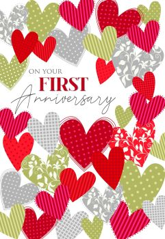 1st Anniversary Cards - COUPLE Anniversary CARDS - On YOUR First ANNIVERSARY - Wedding ANNIVERSARY Cards - HEARTS Anniversary CARDS - ANNIVERSARY