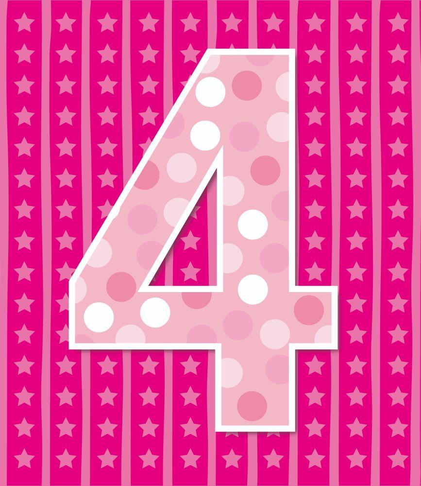 4th Birthday Cards - AGE 4 Birthday CARD - 4th BIRTHDAY Card GIRL - PINK Bi