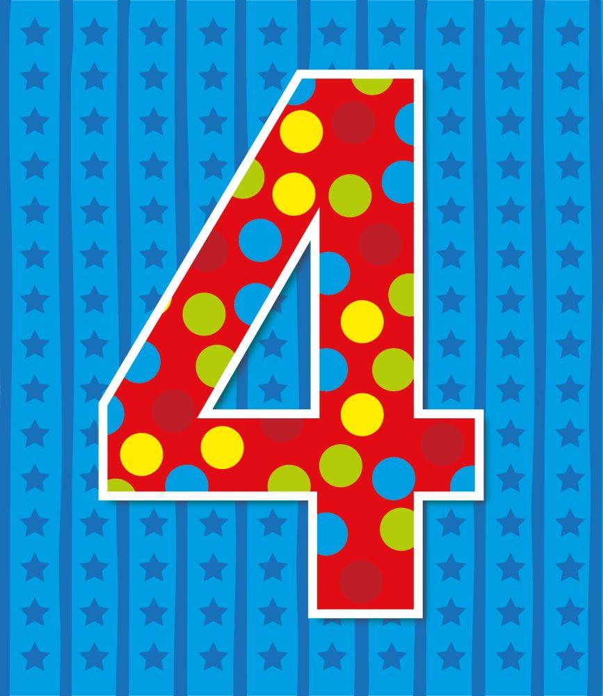 4th Birthday Cards - AGE 4 Birthday CARD - 4th BIRTHDAY Card BOY - STARS &