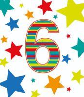 6th Birthday Cards - AGE 6 Birthday CARD - 6th BIRTHDAY Card BOY - STARS Birthday CARD - 6th BIRTHDAY Card For SON - Grandson - NEPHEW - Brother