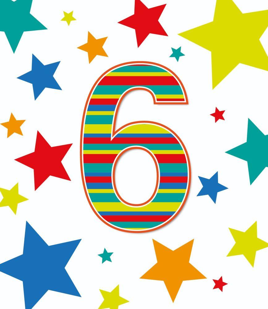 6th Birthday Cards - AGE 6 Birthday CARD - 6th BIRTHDAY Card BOY - STARS Bi