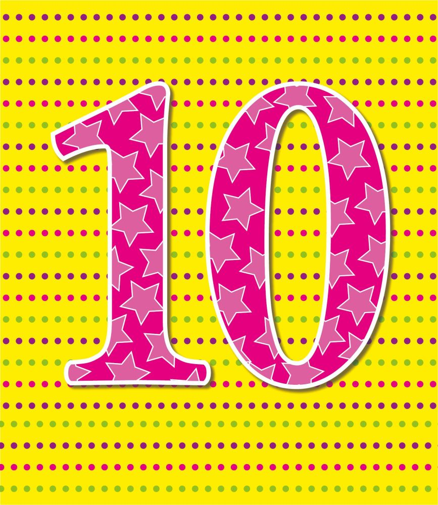 10th Birthday Cards - AGE 10 Birthday CARD - 10th BIRTHDAY Card GIRL - COLO
