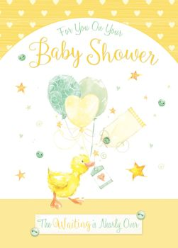 Duckling Baby Shower Card - The WAITING Is NEARLY Over - BABY Shower CARDS - Neutral BABY Shower CARD - Cute YELLOW Sparkly BABY Shower CARD