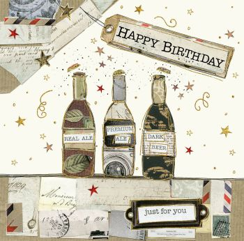 Beer Birthday Card - HAPPY BIRTHDAY - Just For YOU - Drinking BIRTHDAY Cards - Drinking BIRTHDAY Card FOR Friend - BOYFRIEND - Husband - BROTHER