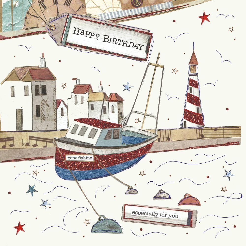Boat Birthday Cards - HAPPY BIRTHDAY - Especially FOR You - SAILING & Boati